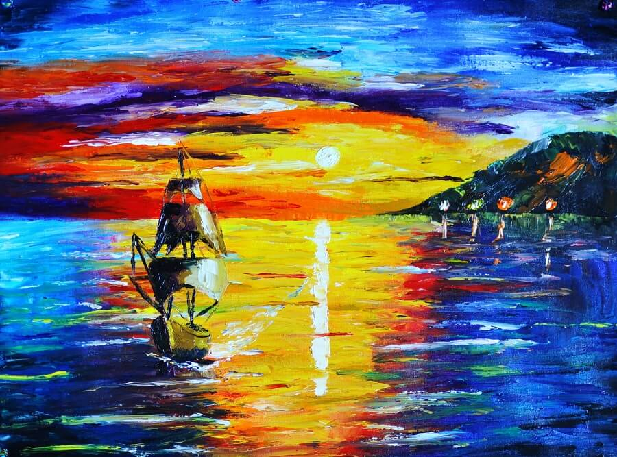 Impressionist paintings - impressionist seascape paintings in palette knife