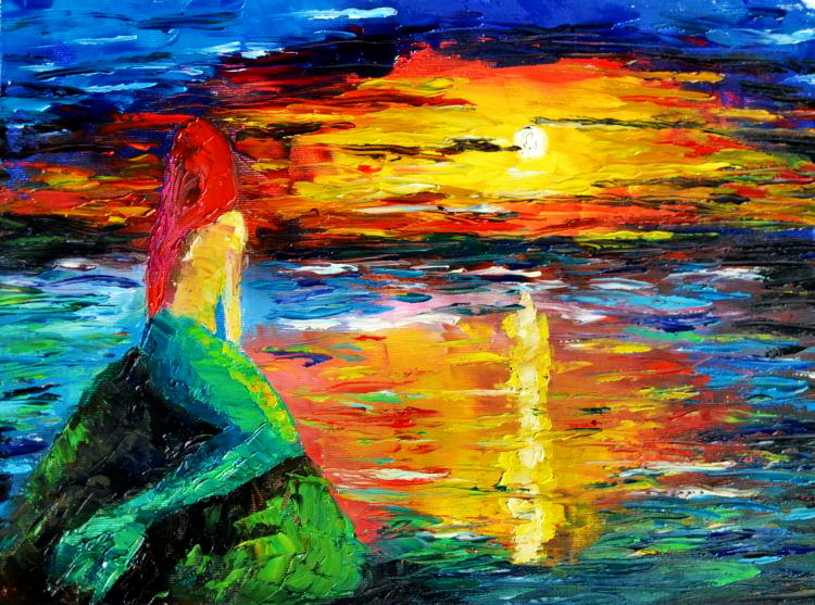 Mermaid at Sunset Oil Painting - Siren Painting - Mermaid images