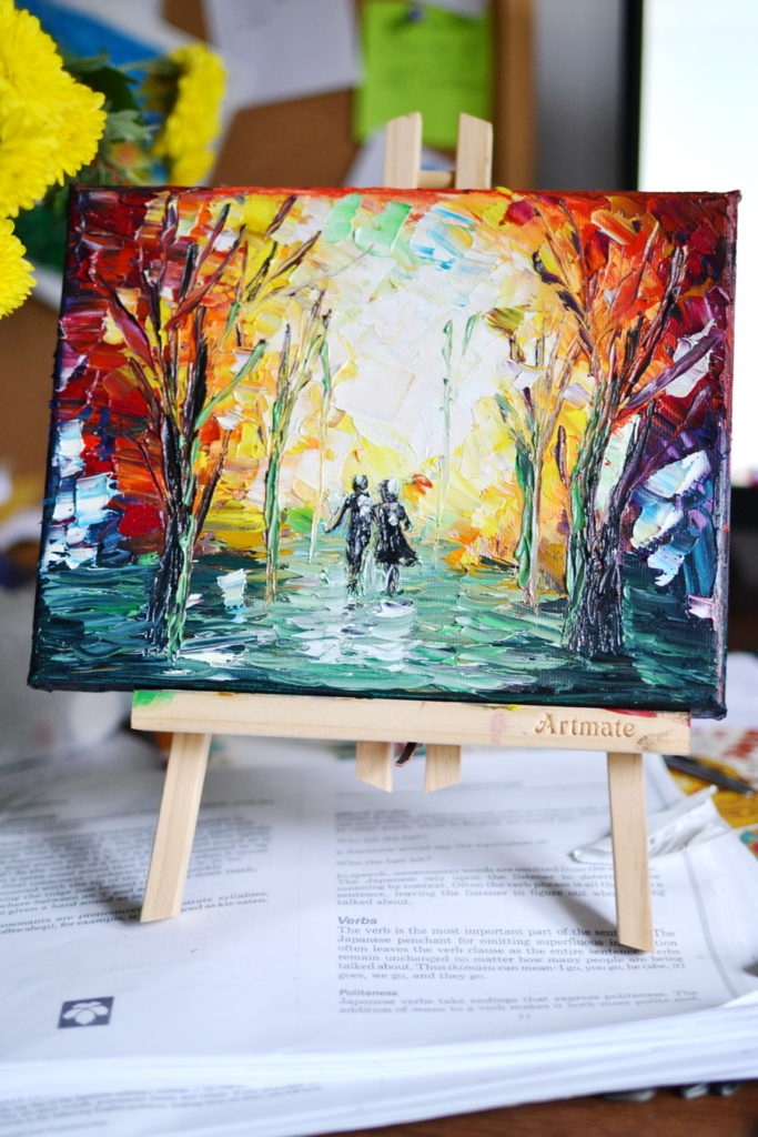 Forest painting in oil