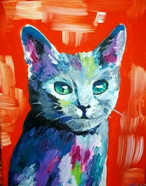 Cat painting in acrylics