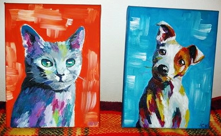 Cat and Dog Painting in Acrylics