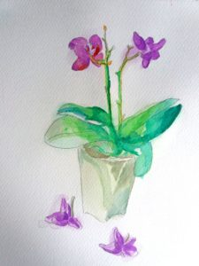 Tropical flower watercolors painting