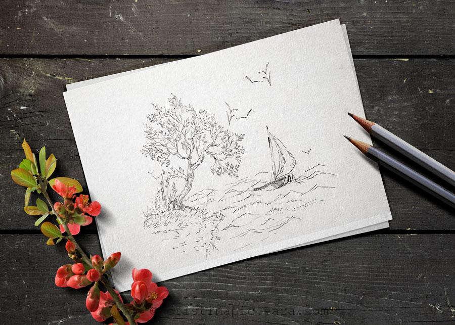 How to draw a tree in ink - Cristina picteaza