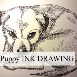 Puppy drawing - Learn how to draw a dog using my ink tutorial - how to draw a detailed dog