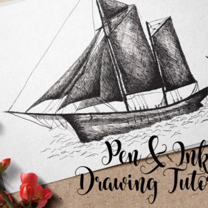 Pen & INK Drawing tutorial - How to draw a sailing ship