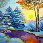 How to oil paint winter landscape on canvas