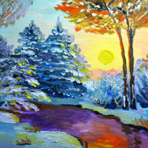 How to oil paint winter landscape on canvas - peisaj de iarna in ulei