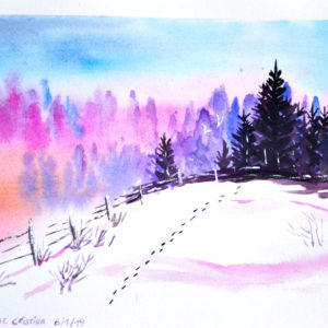 Winter landscape painting by Cristina-Vivi Iordache