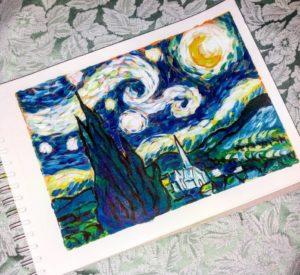 Van Gogh style painting in acrylics