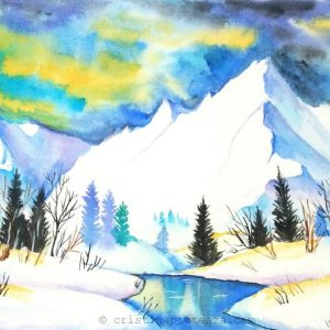 Watercolor mountain cristina vivi - painting- munti pictura in acuarele