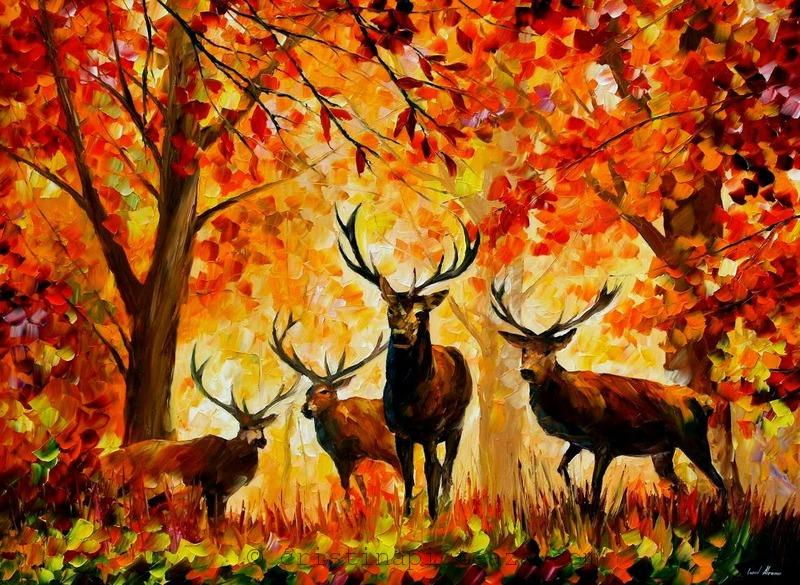 Deer Painting by Leonid Afremov Photo source: https://afremov.com