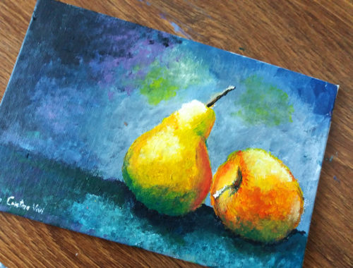 Still Life painting in acrylics on panel