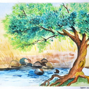 River Tree easy watercolor drawing