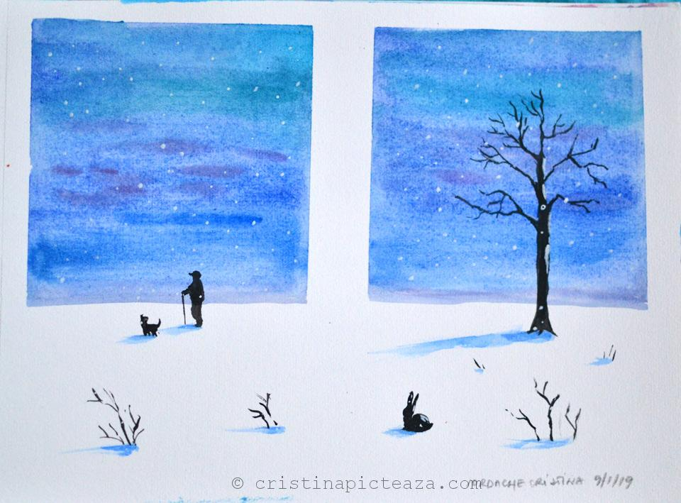 Watercolor winter scene - Cristina Vivi Iordache - Watercolor painting video