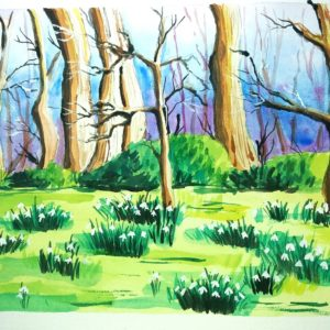 spring painting - Snowdrops watercolor landscape by Cristina-Vivi Iordache