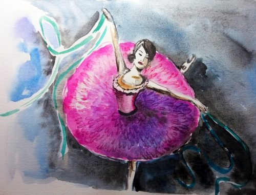 Ballerina Watercolor Illustration - Cristinapicteaza.com