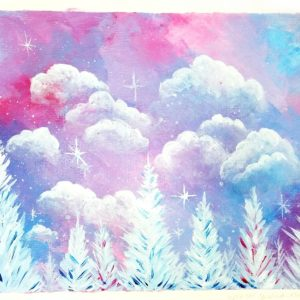 Pink sky - lavender sky in acrylics