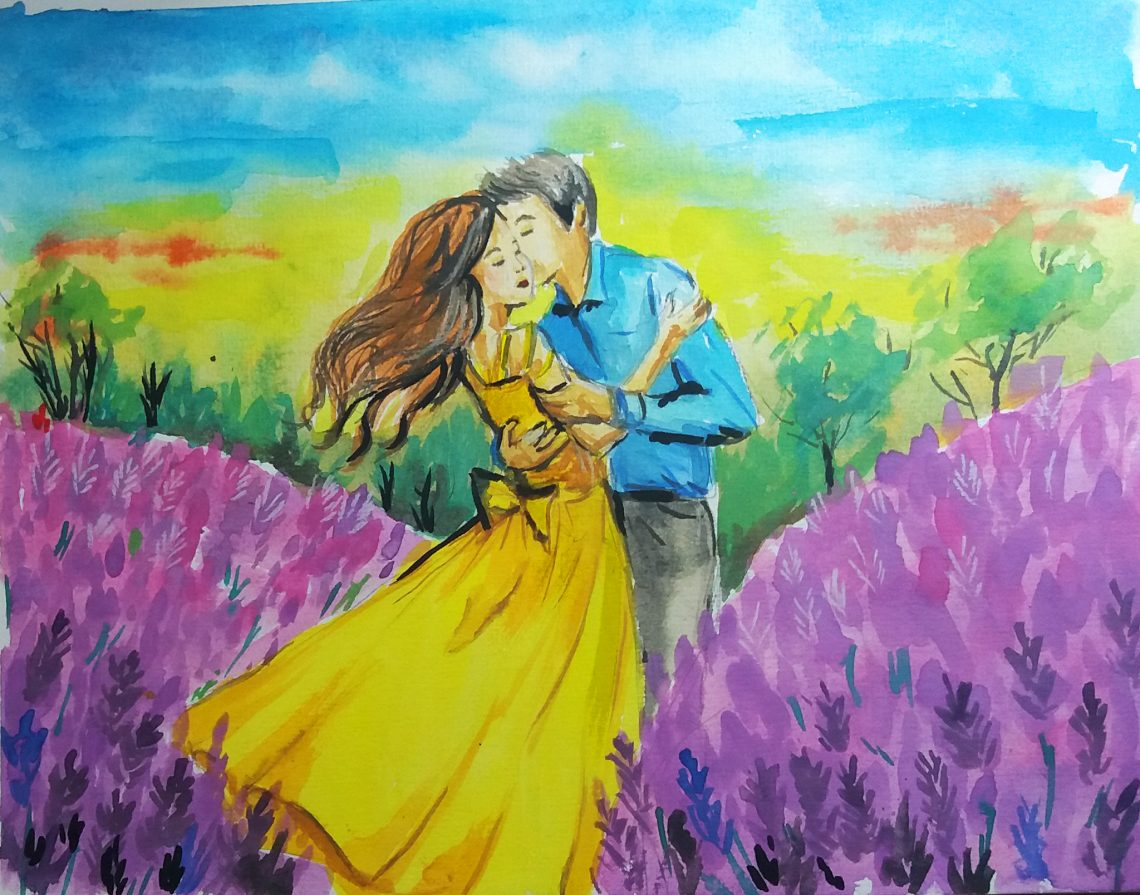 Romantic watercolor painting