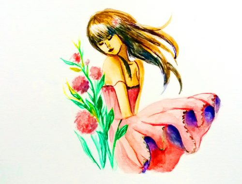 Watercolor girl Painting - Cristina Picteaza