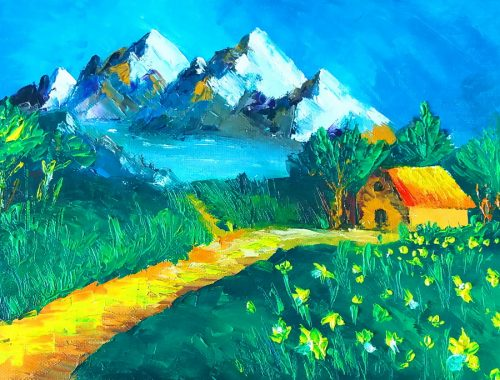 Spring Mountain - Palette Knife Painting