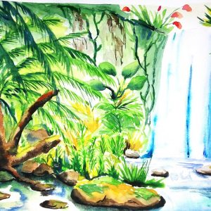 Waterfall painting in watercolor