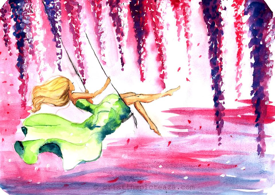 Girl in Swing Painting in Watercolors - Pictura cu fata in leagan cu acuarele