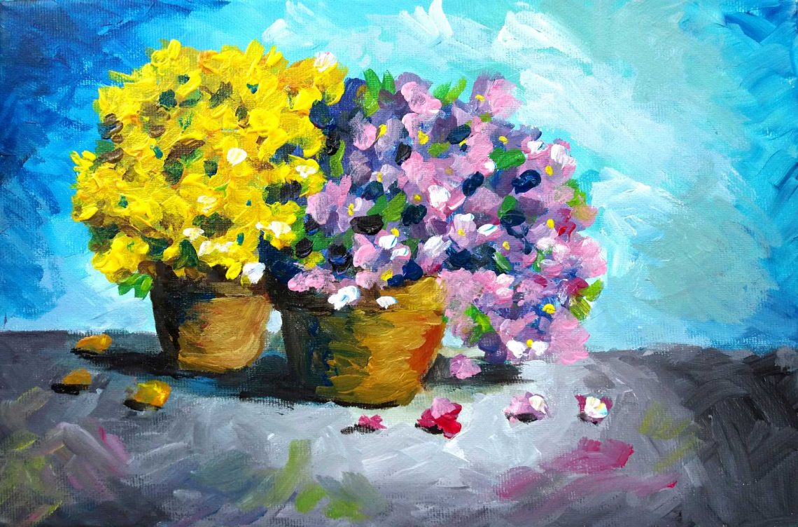 Pictura cu flori in acrilice - Cristina Picteaza Flower painting in acrylics