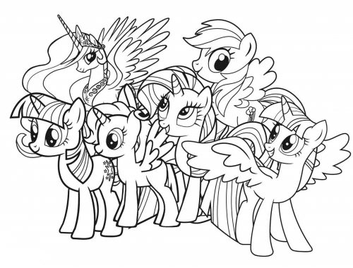 Planse de colorat cu ponei - my little pony coloring