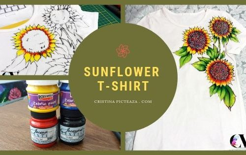 SUNFLOWER T-SHIRT PAINTING - TRICOURI PICTATE CU FLORI