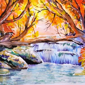 Peisaj de toamna in acuarela - Autumn Painting Watercolor