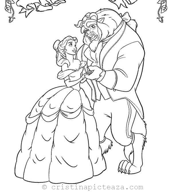 Top 10 Free Printable Beauty And The Beast Coloring Pages Online | 683x600