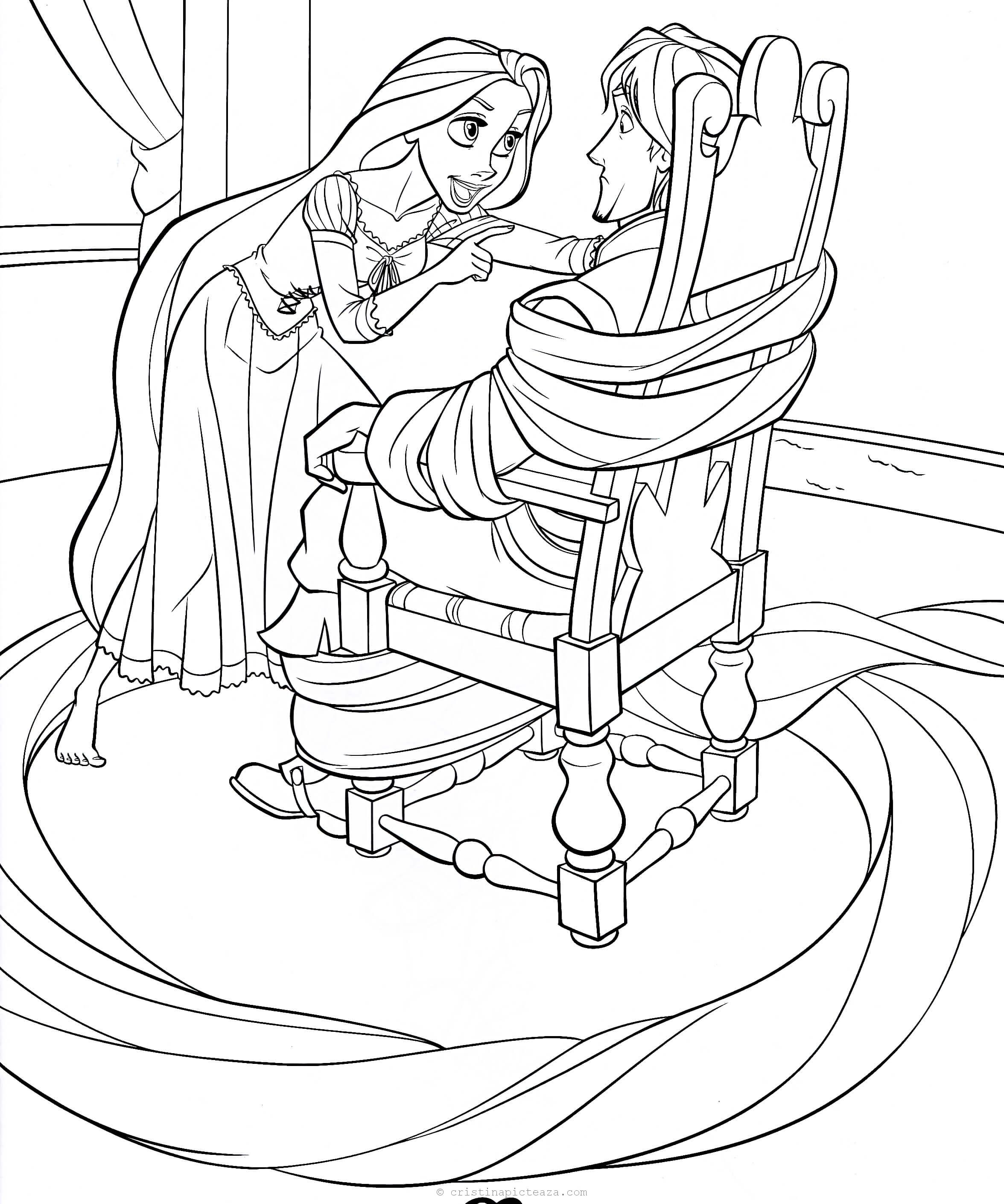 Tangled Coloring Pages - Rapunzel coloring sheets