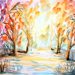 Impressionist watercolor painting - fall landscape - Peisaj de Toamna Pictat