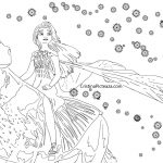 Elsa and the ice horse coloring page - Frozen 2 Cristinapicteaza.com