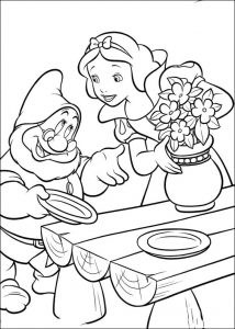 Snow white in the dwarfs home