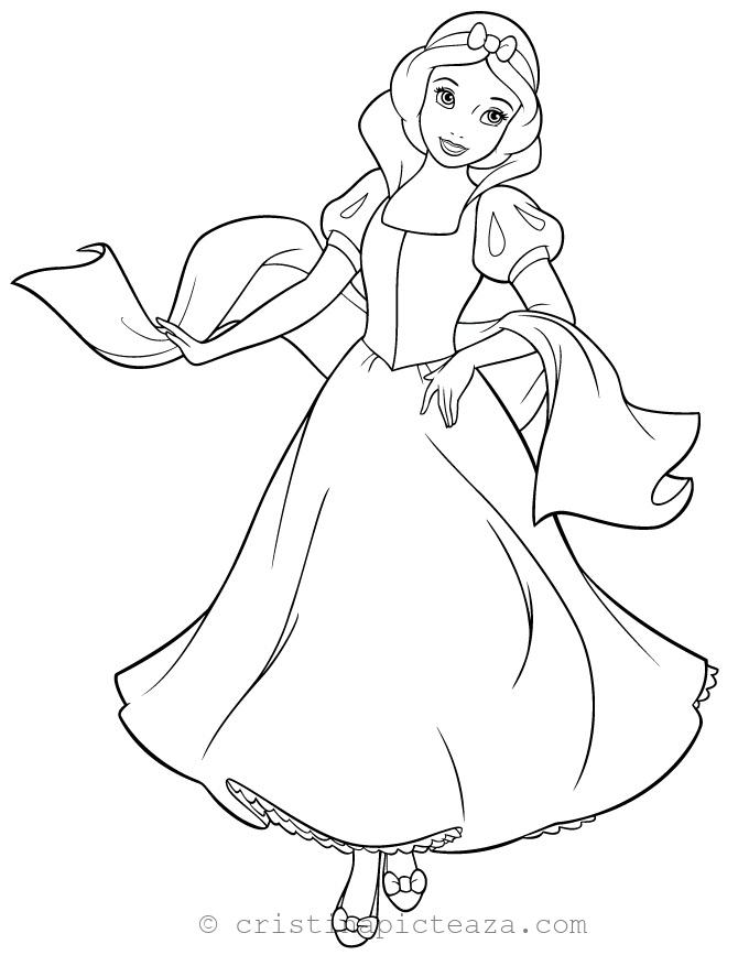 Snow White coloring pages - Alba ca Zapada planse de colorat Cristina Picteaza