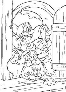 7 Drawfs at home coloring pages - planse colorate pitici