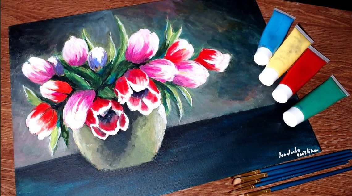 Pictura cu lalele in acrilice - Cristina picteaza - Tulips in acrylics painting