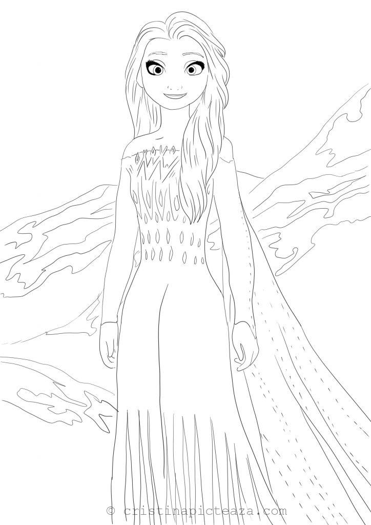 Coloring pages with Elsa in white dress - Frozen 2 - Cristina picteaza