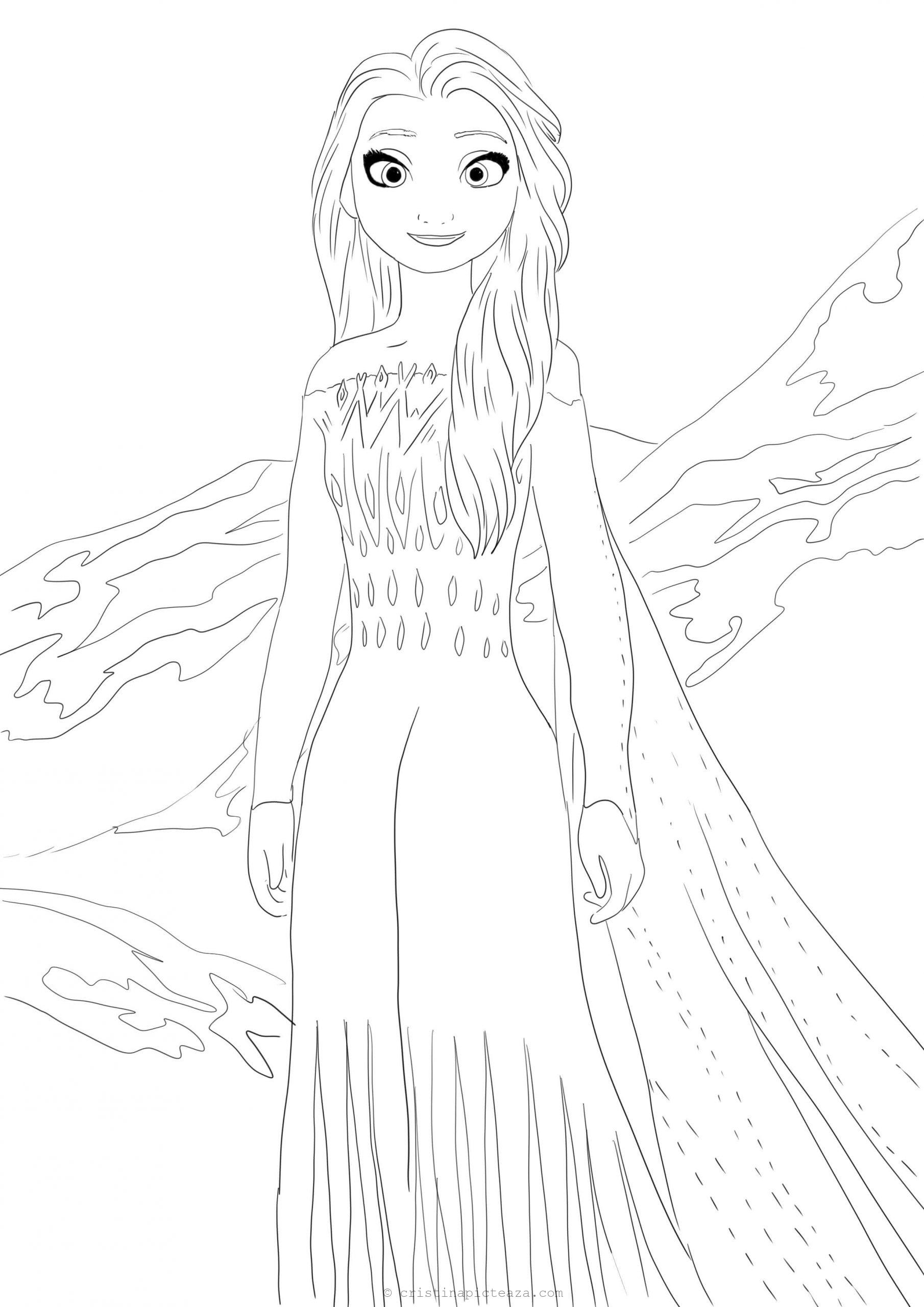 Coloring pages with Elsa in White dress - Frozen 2 ...